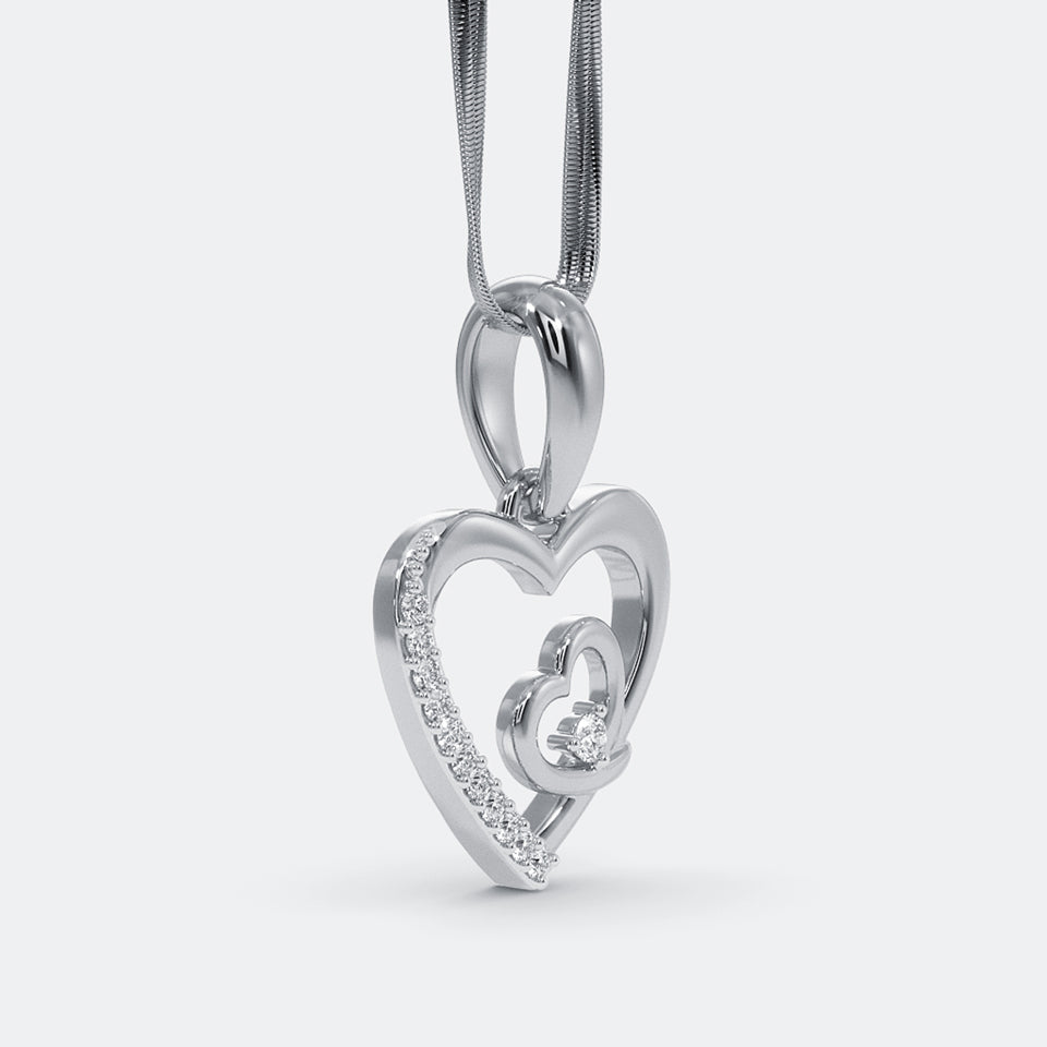 The Lovers Hearts Silver Pendant