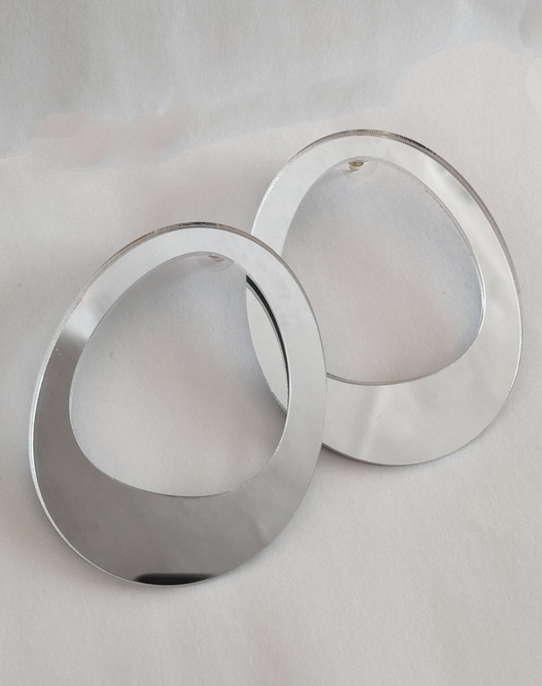 Plexiglass Gold-Mirror Hoop Earrings/ Silver