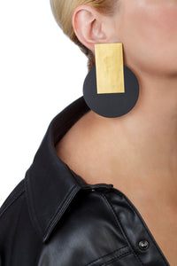 Egypt Gold Earrings/ Gold+Black