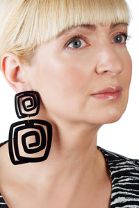 PlexiGlass Black Spiral Double Square Earrings / Black