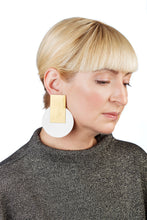 Load image into Gallery viewer, Egypt Earrings/ Gold & White