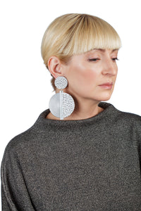 Hammered Spiral Earrings/ Silver