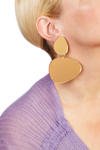 Plexiglass Gold-Mirror Pebbles Earrings/ Gold
