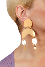 Load image into Gallery viewer, Plexiglass Gold-Mirror Pebbles Mobile Earrings/ Gold