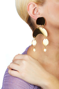 Plexiglass Gold-Mirror Pebbles Mobile Earrings/ Gold