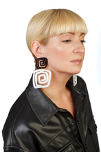 Load image into Gallery viewer, PlexiGlass Mirror-Black & White Spiral Double Square Earrings / Black & White
