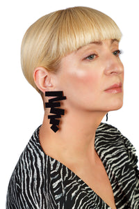 PlexiGlass Mirror-Black ZigZag Earrings / Black