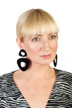 Load image into Gallery viewer, PlexiGlass Mirror-Black Double Triangle Chunky Hoop Earrings / Black