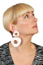 Load image into Gallery viewer, PlexiGlass Mirror White Triangle Chunky Hoop Earrings / White