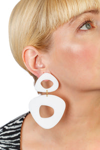 PlexiGlass Mirror White Triangle Chunky Hoop Earrings / White