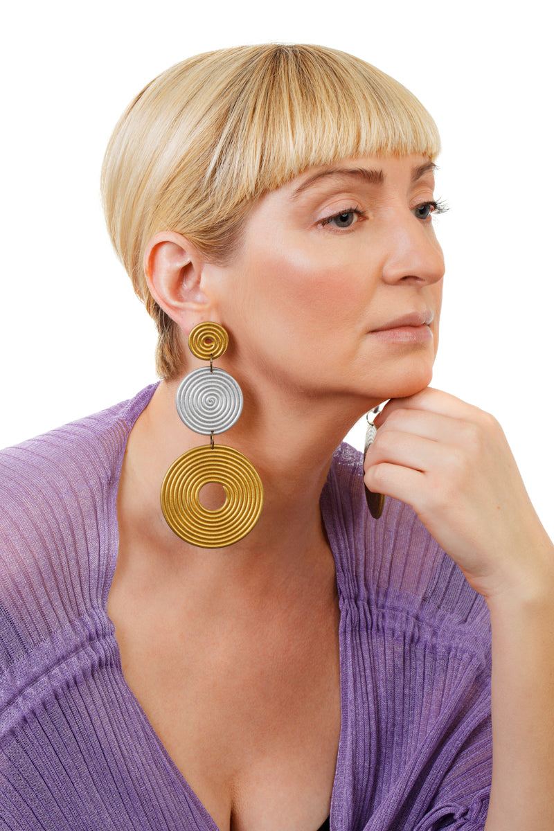 African Spiral Circle Earrings / Gold+Silver