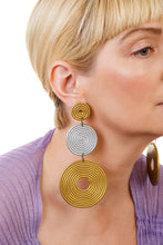 Load image into Gallery viewer, African Spiral Circle Earrings / Gold+Silver