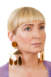 Plexiglass Gold-Mirror Jellyfish Earrings/ Gold