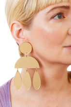 Load image into Gallery viewer, Plexiglass Gold-Mirror Jellyfish Earrings/ Gold