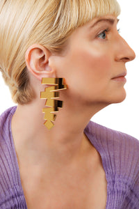 PlexiGlass Gold-Mirror ZigZag Earrings / Gold