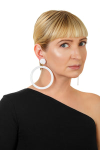 PlexiGlass Mirror-White Hoop Earrings / White