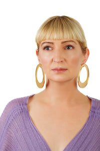 Plexiglass Gold-Mirror Hoop Earrings/ Gold