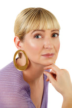 Load image into Gallery viewer, Plexiglass Gold-Mirror Hoop Earrings/ Gold