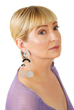 Load image into Gallery viewer, Plexiglass Silver-Mirror Geometric Mobile Earrings/ Silver