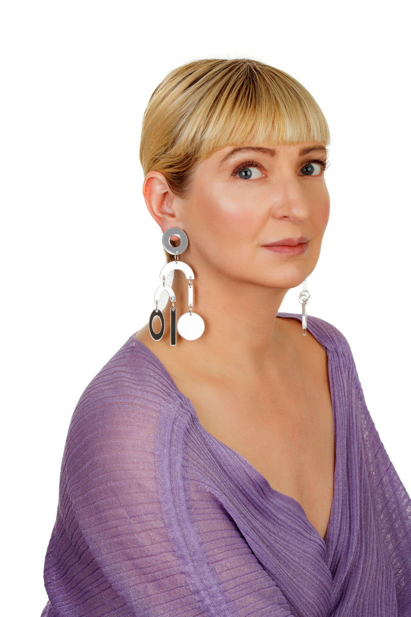 Plexiglass Silver-Mirror Geometric Mobile Earrings/ Silver
