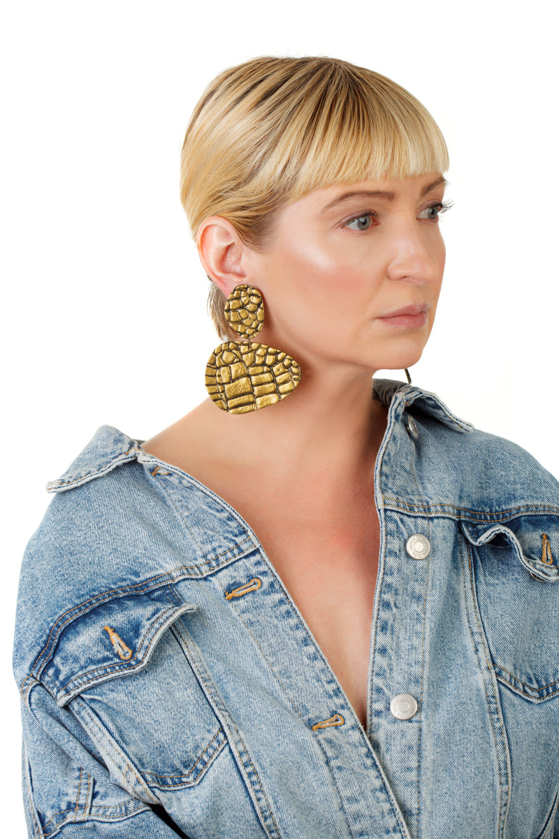 Snake Pebbles Earrings/ Gold