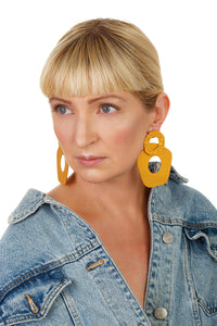 Five-Finger Hoop Earrings/ Mustard