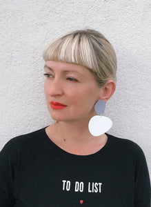 Pebbles Earrings/ Gray+White