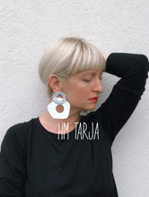 Load image into Gallery viewer, Five-Finger Hoop Earrings/ Silver+White