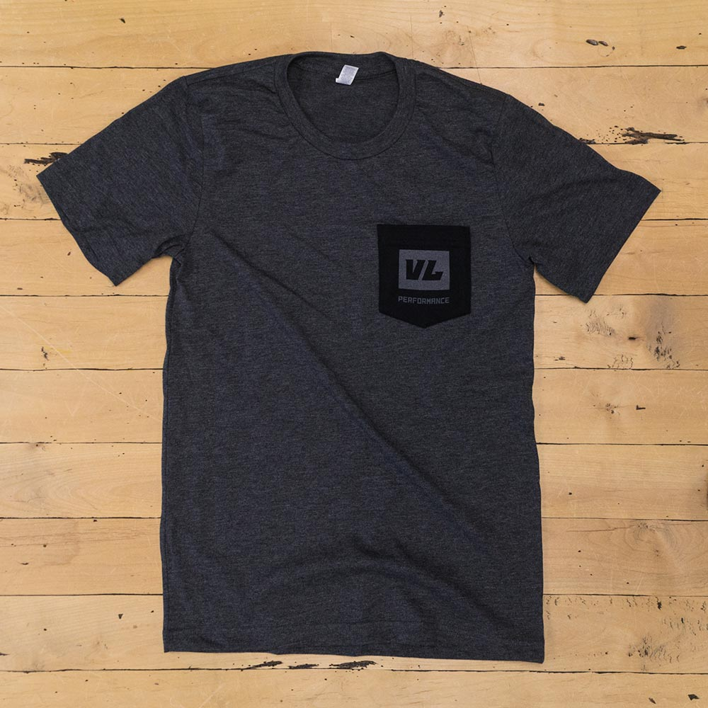 Mens Gray T Shirt - Black Pocket