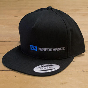Snapback Black Flatbrim Hat - Long Logo