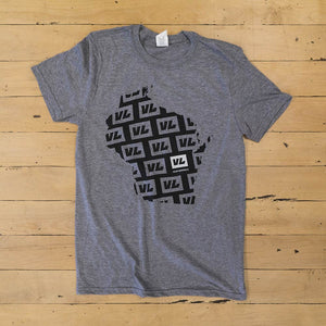 Mens Gray T Shirt - Wisconsin Boarder