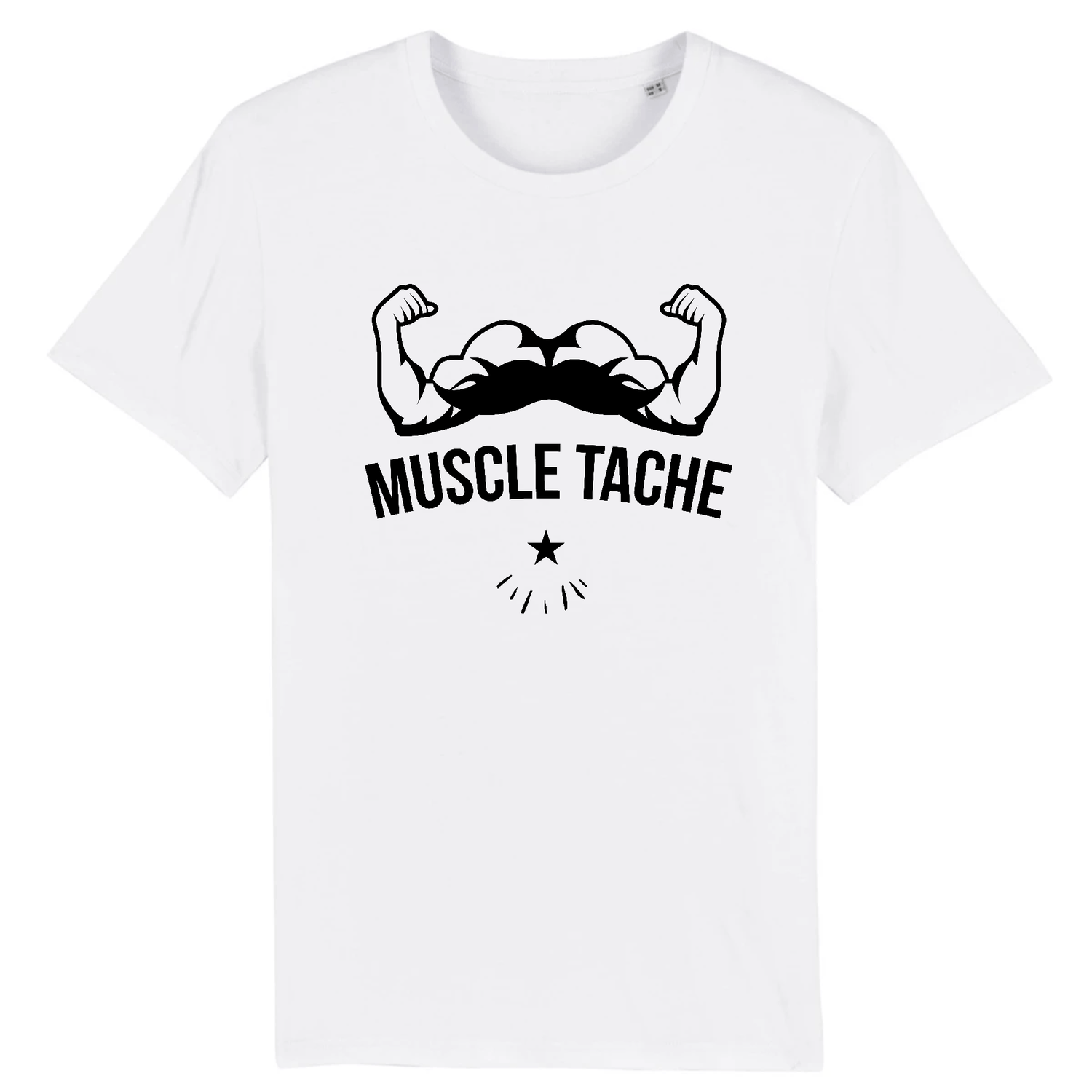 T-Shirt Barbe Muscle Tache Blanc