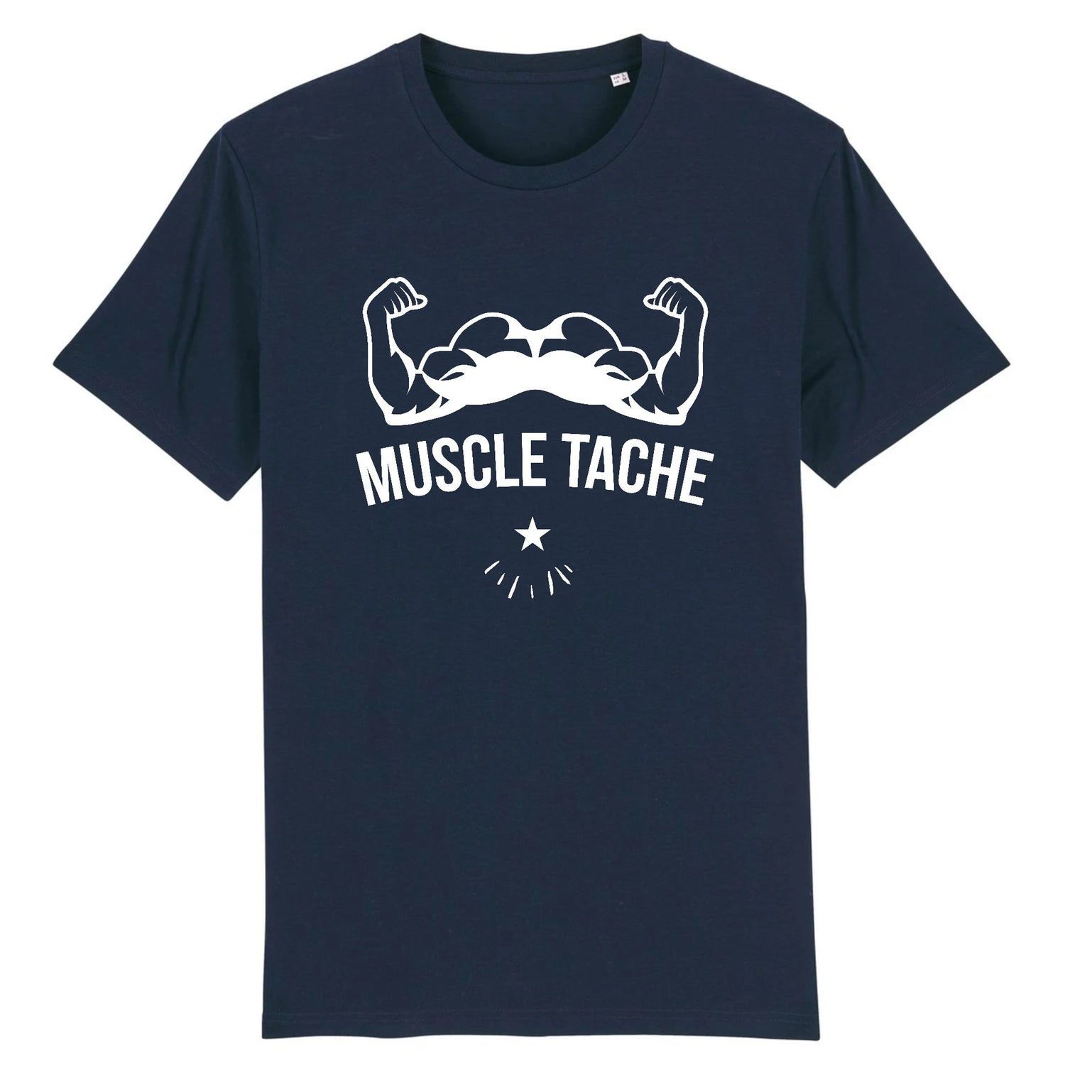 T-Shirt Barbe Muscle Tache Marine