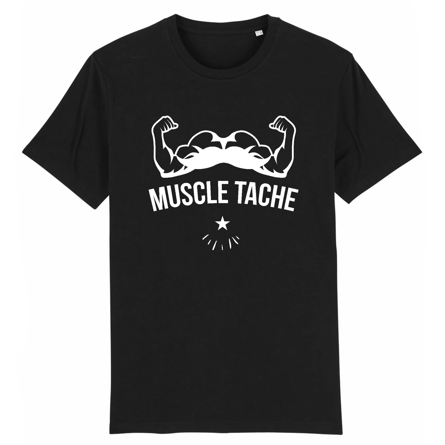T-Shirt Barbe Muscle Tache Noir