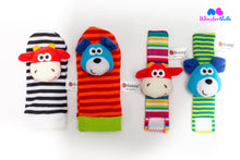 Load image into Gallery viewer, Sensory Sock & Wrist Rattle Set- Cow Dog