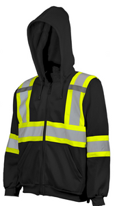 Hi-Vis Traffic Hoodie with Detachable Hood - Black