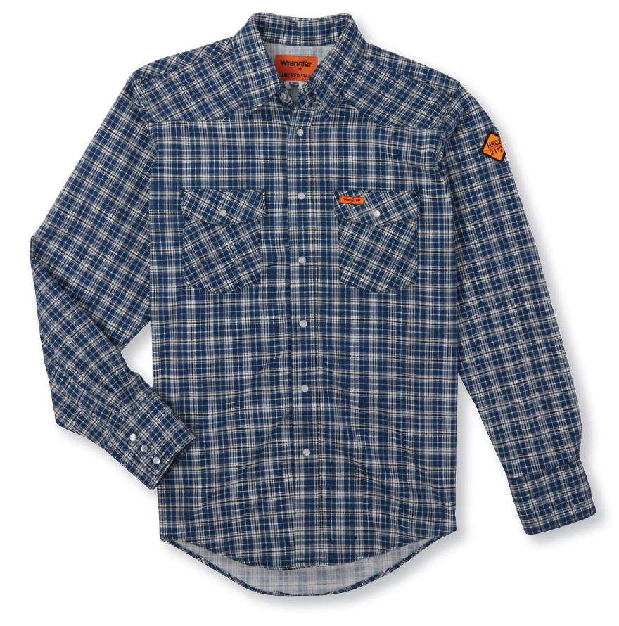 Western Workshirt FR, Navy Plaid