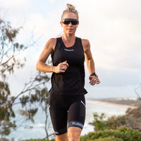 Fusion Womens C3+ Running Singlet_Colour: Black_Action