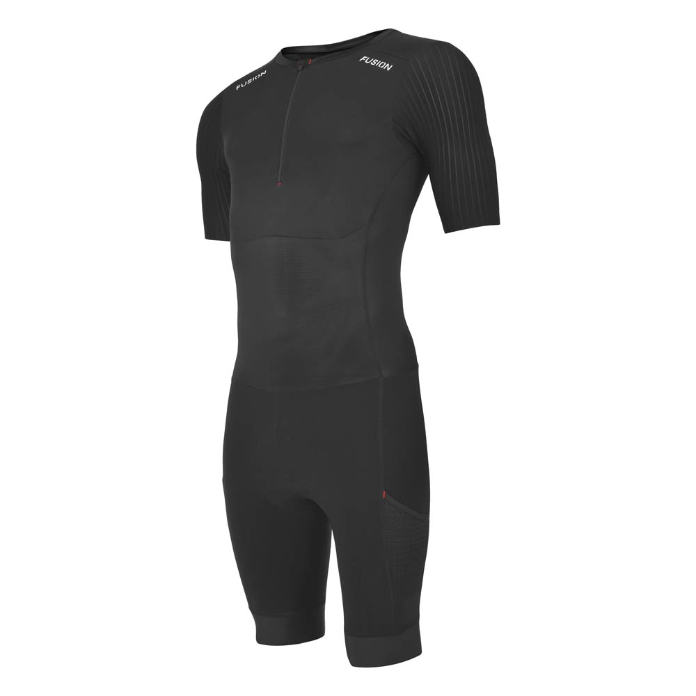 Fusion SLi Speed Suit (all black)_sleeved tri suit_front