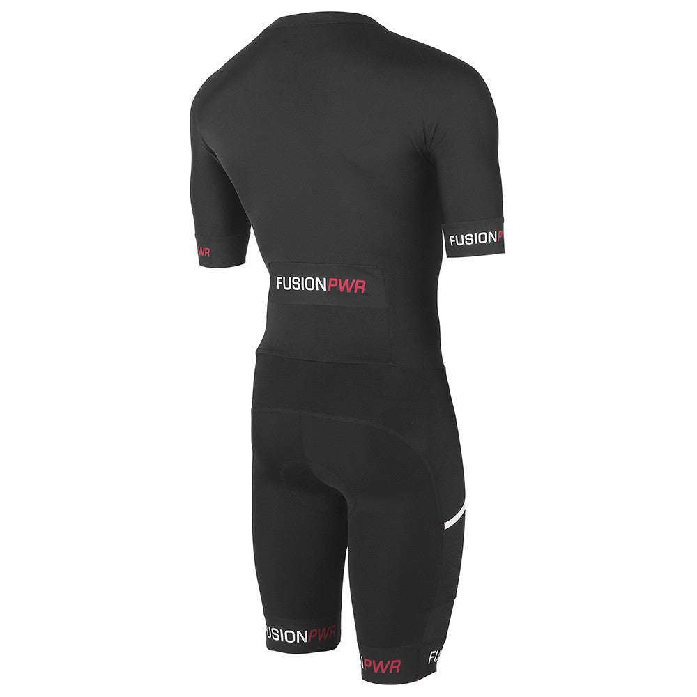 Fusion Speed Suit (PWR)_Sleeved Tri Suit_Colour: Black/Black_Front