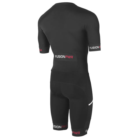 Fusion Speed Suit (PWR)_Sleeved Tri Suit_Colour: Black/Black_Back