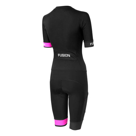 Fusion Speed Suit (PWR) Fluro_Sleeved Tri Suit_Colour: Black/Fluro Pink_Back