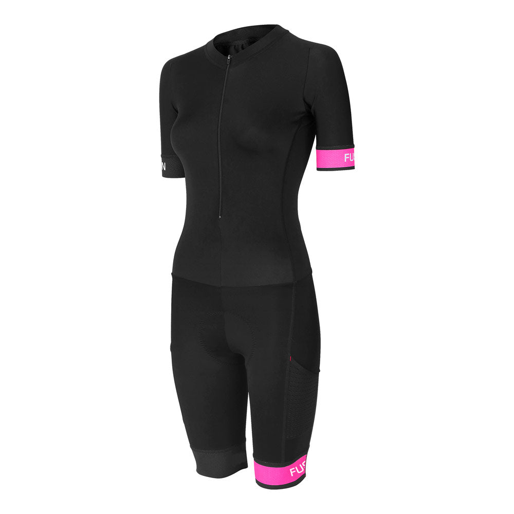 Fusion Speed Suit (PWR) Fluro_Sleeved Tri Suit_Colour: Black/Fluro Pink_Front