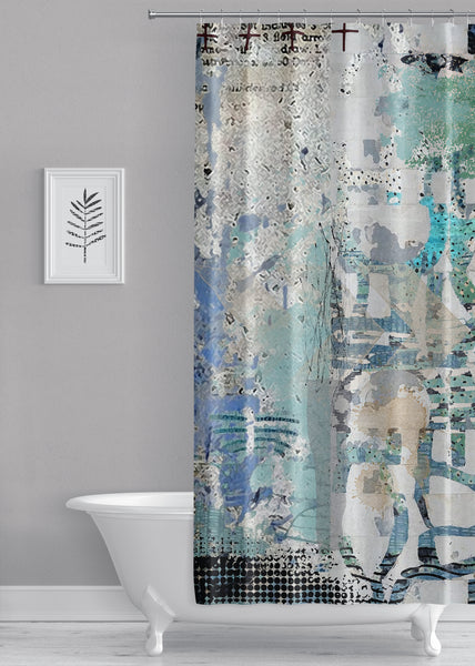 Blue on Blue Designer Shower Curtain