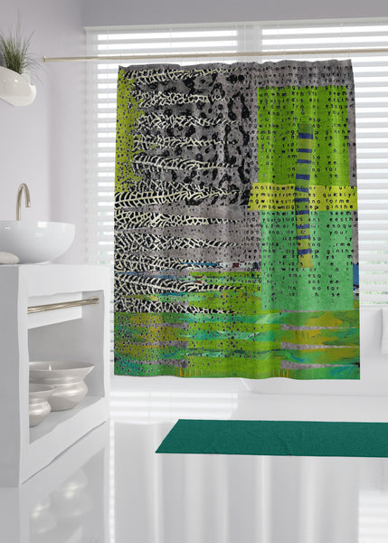 Gray Green Designer Shower Curtain
