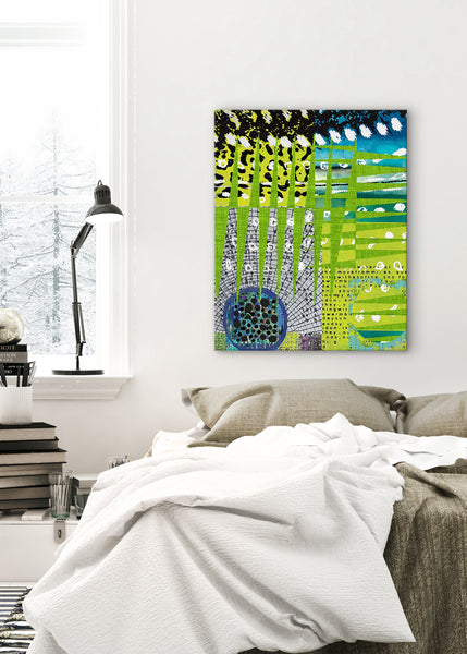Green Leopard Abstract Art by Sheree Burlington