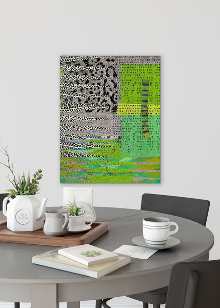 Grey Green Abstract Art by Sheree Burlington