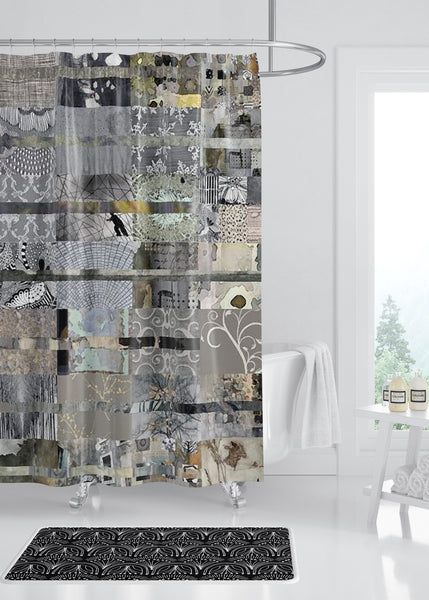 Gray Quilt Designer Shower Curtain