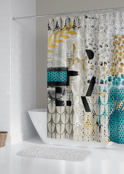 Hello Designer Fabric Shower Curtain by Sheree Burlington