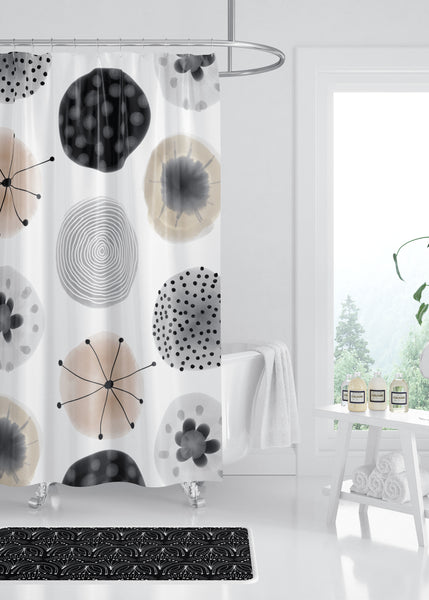 Watercolor Rounds Designer Shower Curtain